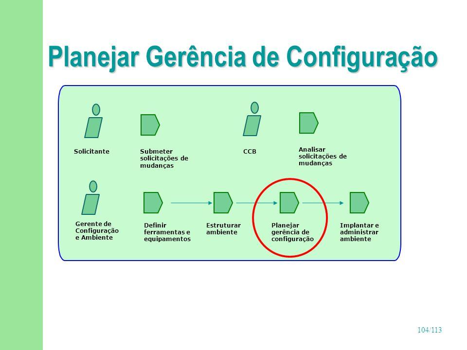 105/113 Planejar Gerência de Configuração (continuação) n Objetivos u Definir os papéis e responsabilidades dos membros da equipe responsável pelas atividades de gerência de configuração (GC) u Definir os baselines que deverão ser estabelecidos u Definir o cronograma das atividades de GC u Definir as políticas, procedimentos e padrões que guiarão essas atividades u Identificar os itens de configuração n Responsável u Gerente de configuração