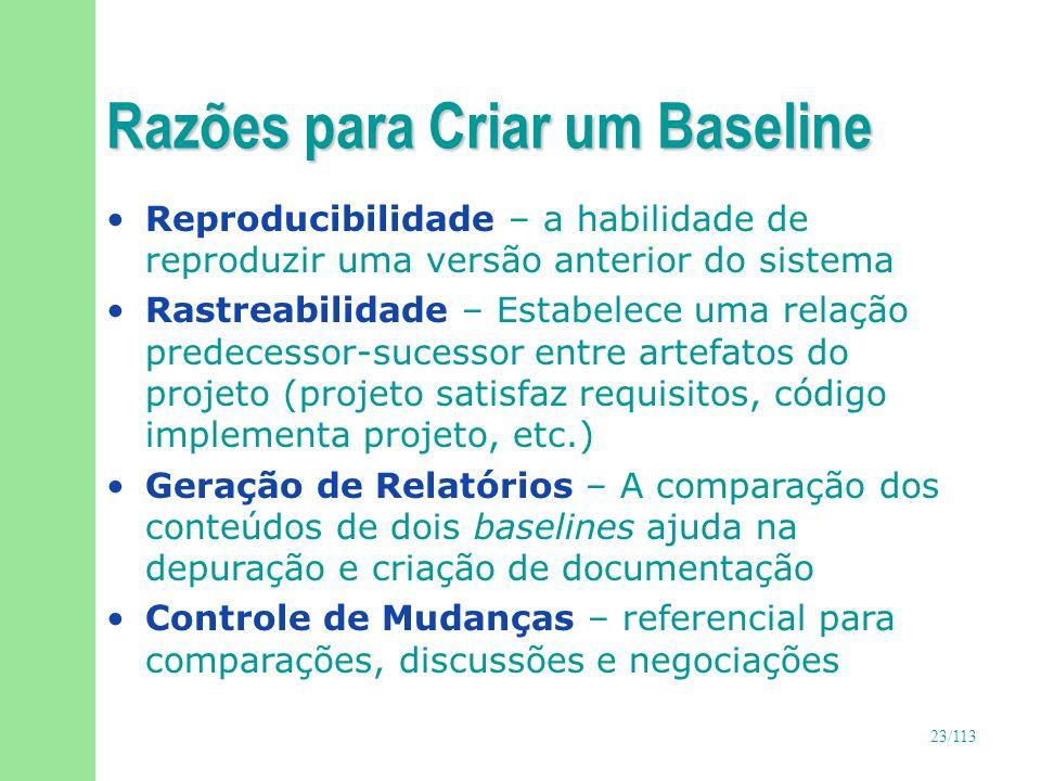 24/113 Baselines importantes n Baselines são considerados marcos no processo de desenvolvimento: u Funcional : requisitos u De Produto : releases, iterações