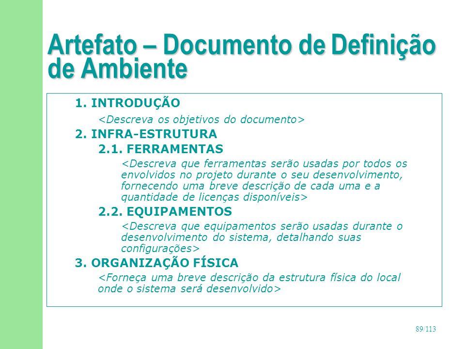 90/113 Artefato – Documento de Definição de Ambiente 4.
