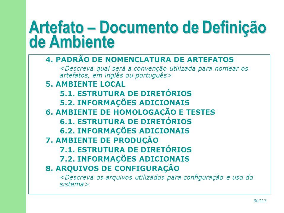 91/113 Artefato – Documento de Definição de Ambiente 9.