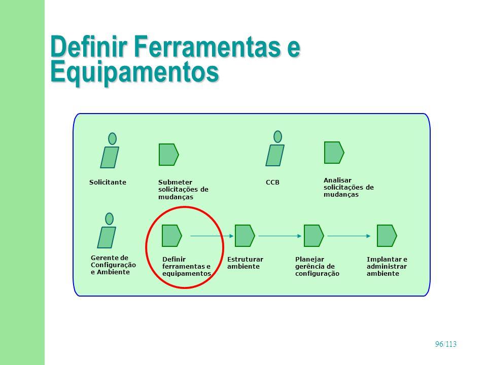 97/113 Definir Ferramentas e Equipamentos(continuação) n Objetivos u Definir ferramentas de suporte ao desenvolvimento, controle de versões e softwares em geral u Definir hardwares e suas configurações u Definir regras para atualizações de hardware e software n Responsável u Gerente de configuração