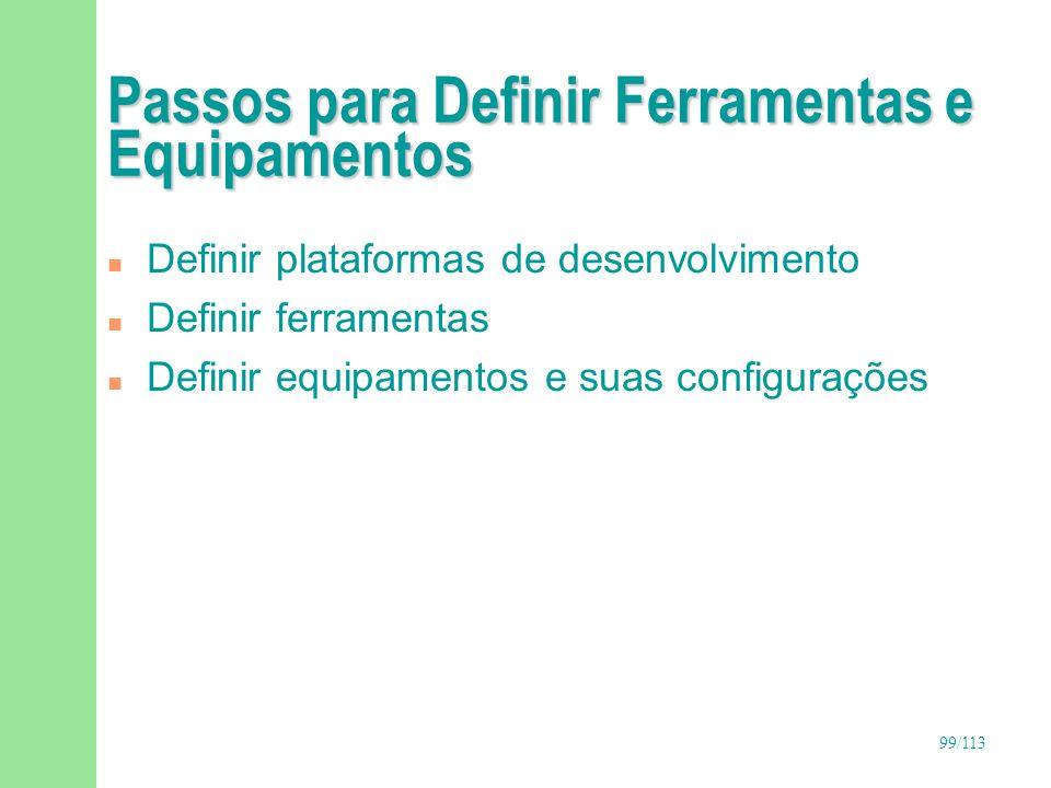 100/113 Estruturar Ambiente Gerente de Configuração e Ambiente Definir ferramentas e equipamentos Implantar e administrar ambiente Estruturar ambiente Planejar gerência de configuração SolicitanteSubmeter solicitações de mudanças CCB Analisar solicitações de mudanças