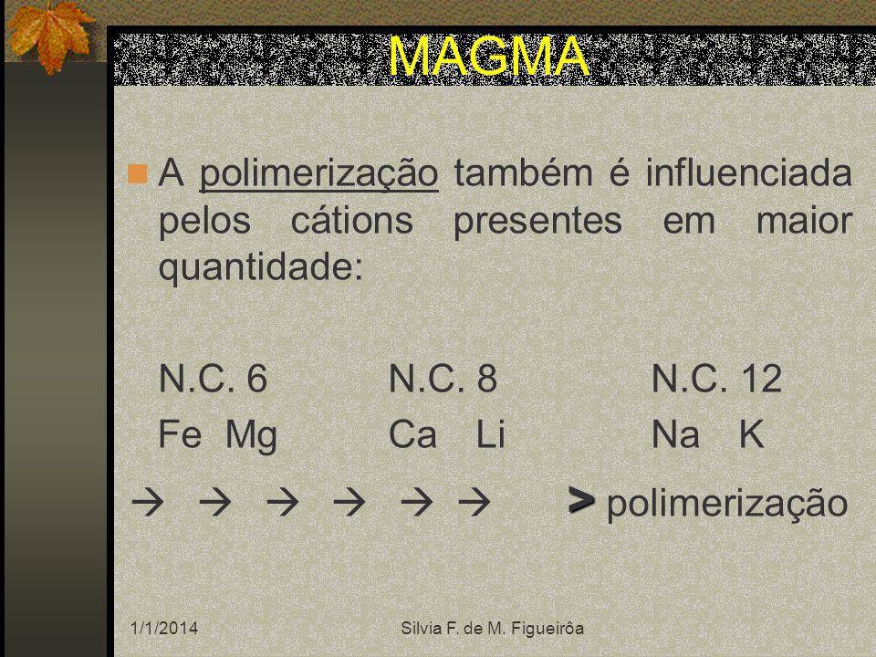 A viscosidade do magma depende: Temperatura:> T° < Viscosidade Composição:> SiO 2 > Viscosidade Voláteis:> voláteis (rompem as ligações Si- O e Al-O) < Viscosidade Pressão:> P > Viscosidade Mantendo-se o Vol magma constante, se P e T° aumentam simultaneamente < viscosidade ( T° é mais influente) MAGMA A densidade do magma varia em função da pressão: > P > d
