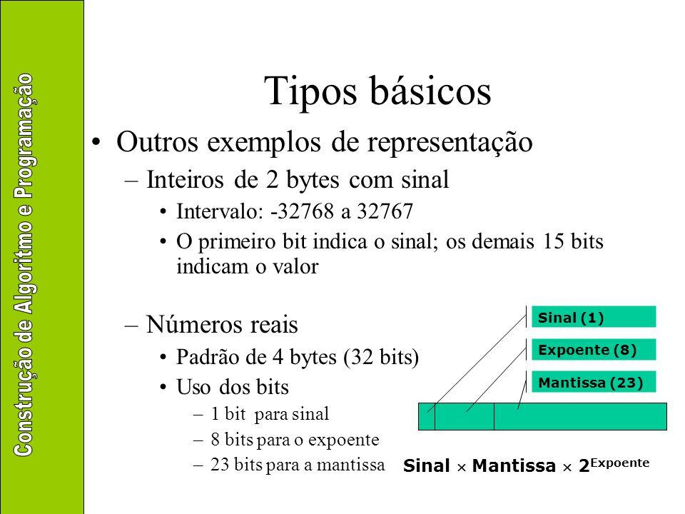 Tipos básicos Literais –Usados para representar valores textuais Incluem letras, dígitos e símbolos –Notação Uso de aspas duplas para indicar o tipo Joaquim Xavier Digite seu nome: Qualquer coisa: % $ * @ 1 2 4 6 5, .