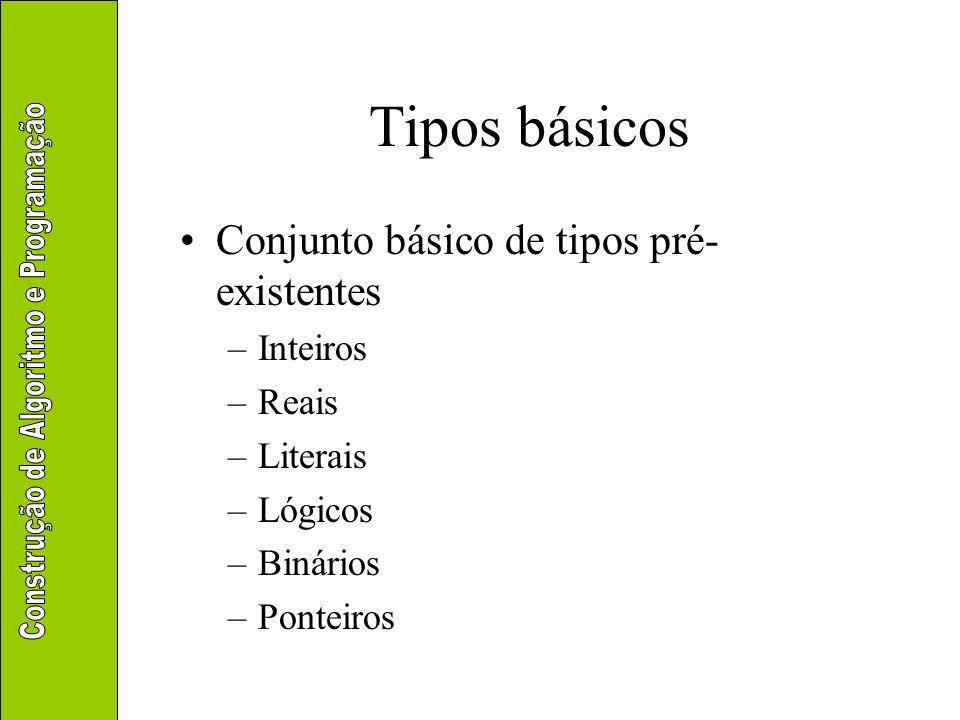 Tipos básicos Inteiros –Valores sem parte decimal –Exemplos 10 7 –14 0 3 Reais –Valores com parte decimal, mesmo que nula –Exemplos 1,75 3,14 -8,5 0,05 3,0