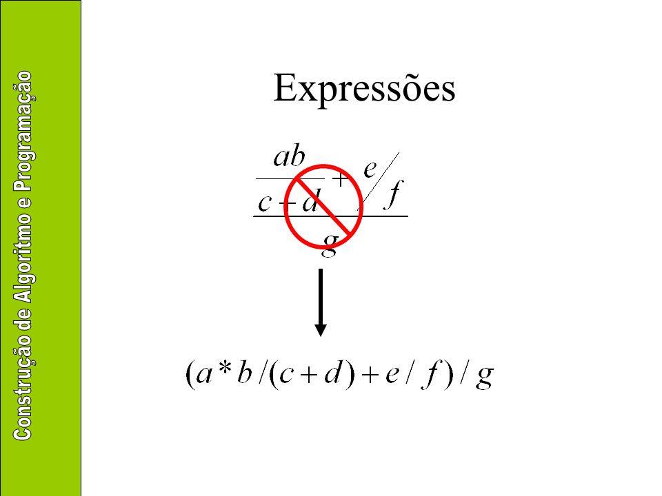 Aritméticas –Manipulam valores numéricos –Operadores ( ) – div mod * / + – + – Precedências iguais Avaliação da esquerda para a direita Parênteses Quebra da ordem de precedência normal unário binário