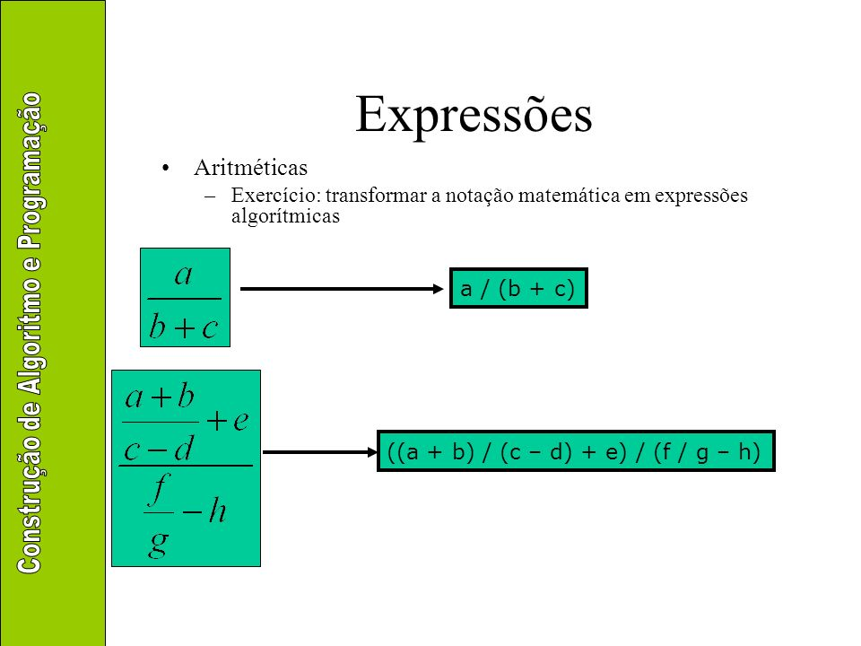 Expressões Aritméticas –Exercício: transformar a notação matemática em expressões algorítmicas a / b * c a / b / (c / d) a / (b * c)
