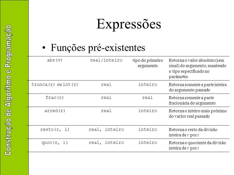 Expressões Aritméticas –Exercício: transformar a notação matemática em expressões algorítmicas a + abs((b – c) / raiz(f / g)) sen(a + b) / cos(c) + ln(d / (e * f))