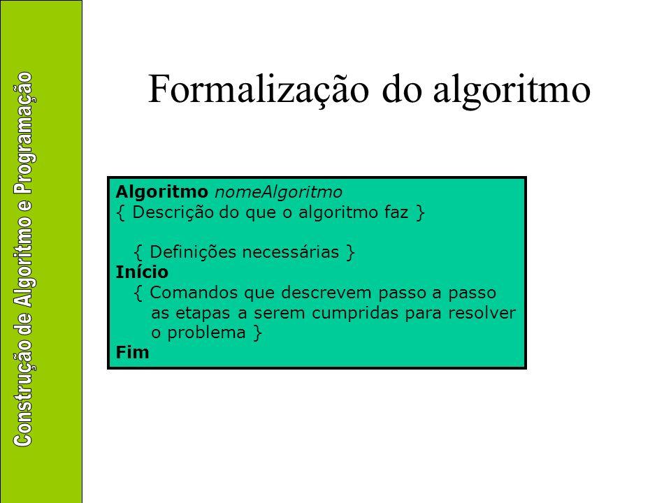 Formalização do algoritmo Exemplo algoritmo quedaLivre { Calcula a velocidade de uma partícula ao atingir o solo após ser largada do repouso a uma dada altura } declare altura: real início leia (altura) escreva (4,43 * raiz(altura)) fim