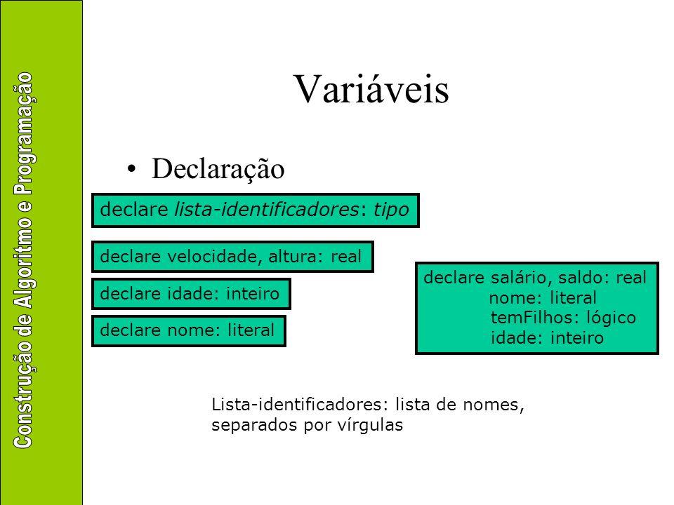 Variáveis declare salário, saldo: real nome: literal temFilhos: lógico idade: inteiro Memória salário (real) saldo (real) nome (literal) temFilhos (lógico) idade (inteiro)