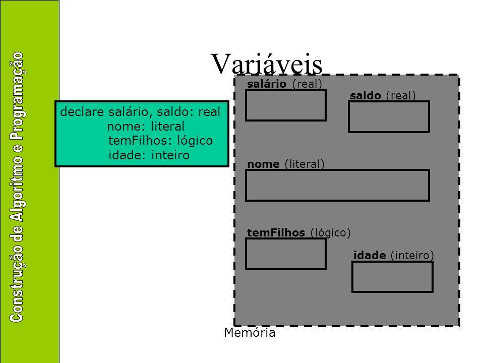 Entrada e saída Interface com o mundo externo leia(lista-de-identificadores) escreva(lista-de-expressões) Faz a transferência entre de dados de fora do computador para as variáveis (i.e., para a memória) Faz a transferência entre de dados das variáveis (i.e., da memória) para fora do computador