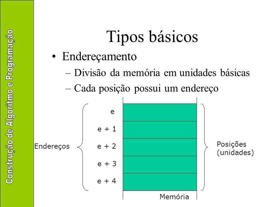 Tipos básicos Armazenamento de dados em memória –Representação da informação Uso dos bits, agrupados em bytes, para representar Uso das posições de memória para armazenar as informações representadas