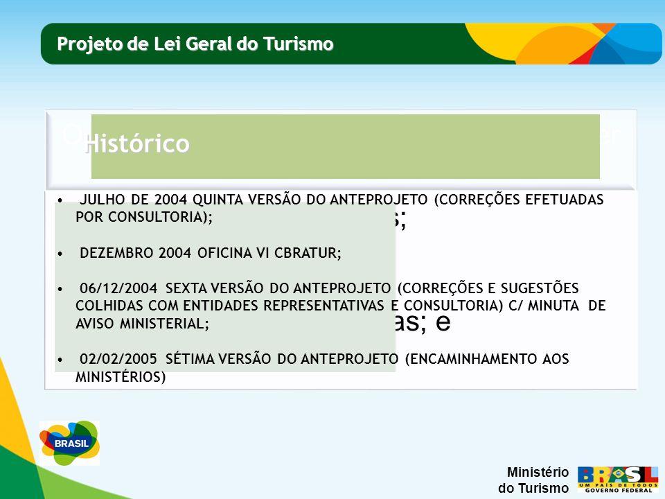 Ministério do Turismo Projeto de Lei Geral do Turismo Projeto de Lei Geral do Turismo Histórico ABRIL DE 2005 SÉTIMA VERSÃO A ; MAIO DE 2005 SÉTIMA VERSÃO B; 10/08/2005 SÉTIMA VERSÃO C; 25/08/2005 SÉTIMA VERSÃO D; 12/09/2005 VERSÃO ATUALIZADA; 16/09/2005 VERSÃO ATUALIZADA 4º EDITUR; 21/09/2005 ENCAMINHAMENTO CONSULTORIA JURÍDICA MINISTÉRIO DO TURISMO; 08/02/2006 PARECER CASA CIVIL