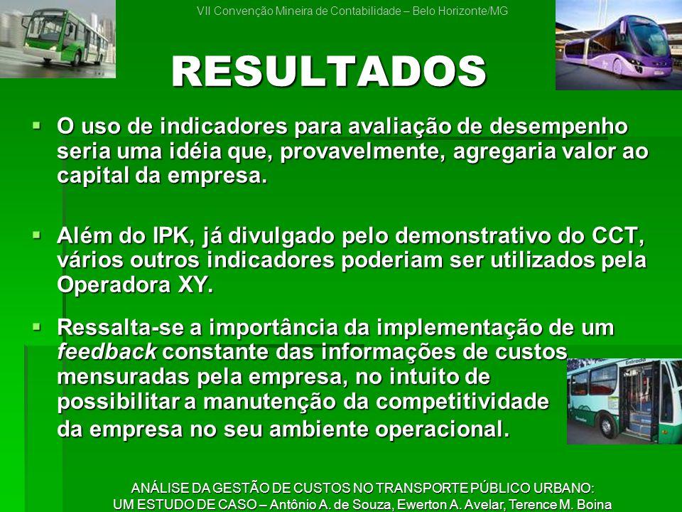 VII Convenção Mineira de Contabilidade – Belo Horizonte/MG ANÁLISE DA GESTÃO DE CUSTOS NO TRANSPORTE PÚBLICO URBANO: UM ESTUDO DE CASO – Antônio A.