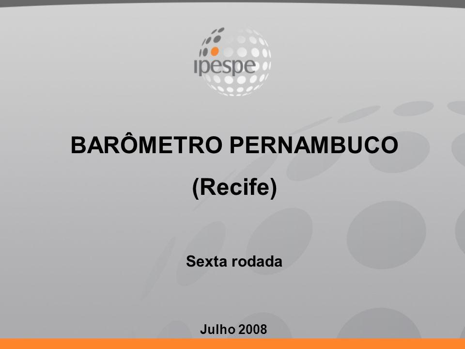 BARÔMETRO PERNAMBUCO: 26 – 28 JULHO 2008 SUMÁRIO 1.Objetivos 2.Metodologia 3.Intenção de voto para Prefeito de Recife em 2008 4.Percepção da Economia 5.Avaliação das Administrações nas três Instâncias de Governo 6.Avaliação de Áreas e Expectativas dos Recifenses 7.Tema Específico: Participação Política e Câmara dos Vereadores