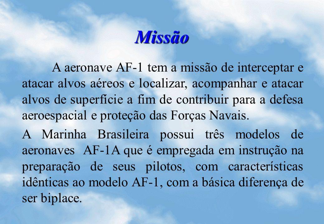 Missão A aeronave AF-1 tem a missão de interceptar e atacar alvos aéreos e localizar, acompanhar e atacar alvos de superfície a fim de contribuir para a defesa aeroespacial e proteção das Forças Navais.