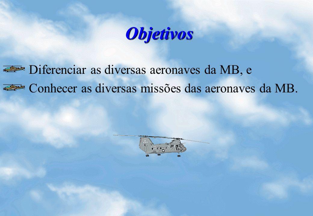 Objetivos Diferenciar as diversas aeronaves da MB, e Conhecer as diversas missões das aeronaves da MB.