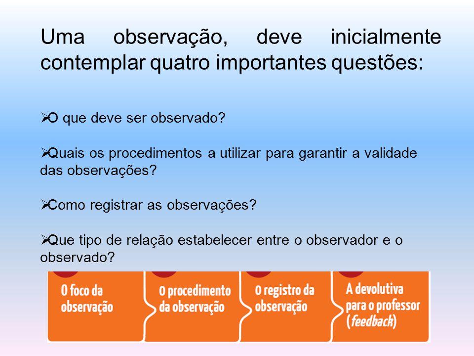 Madalena Freire nos ajuda a pensar sobre a ação do observador no ambiente escolar quando nos diz: Observar uma situação pedagógica não é vigiá-la mas sim, fazer vigília por ela, isto é, estar e permanecer acordado por ela, na cumplicidade da construção do projeto, na cumplicidade pedagógica .