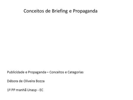 Conceitos de Briefing e Propaganda