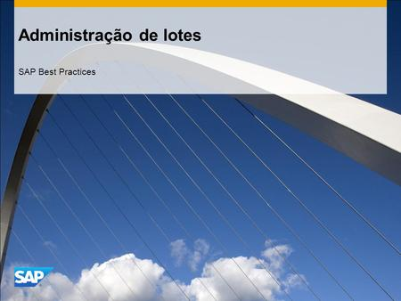 Administração de lotes SAP Best Practices. ©2014 SAP SE or an SAP affiliate company. All rights reserved.2 Objetivo, benefícios e principais etapas do.