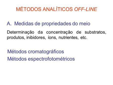 MÉTODOS ANALÍTICOS OFF-LINE