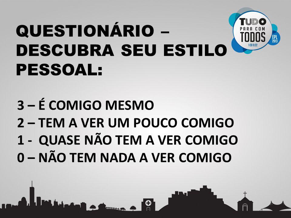 QUESTIONÁRIO – DESCUBRA SEU ESTILO PESSOAL: CONFRONTADORINTELECTUALTESTIFICADORINTERPESSOALCONVIDATIVOPRESTATIVO 1.2.3.4.5.6.