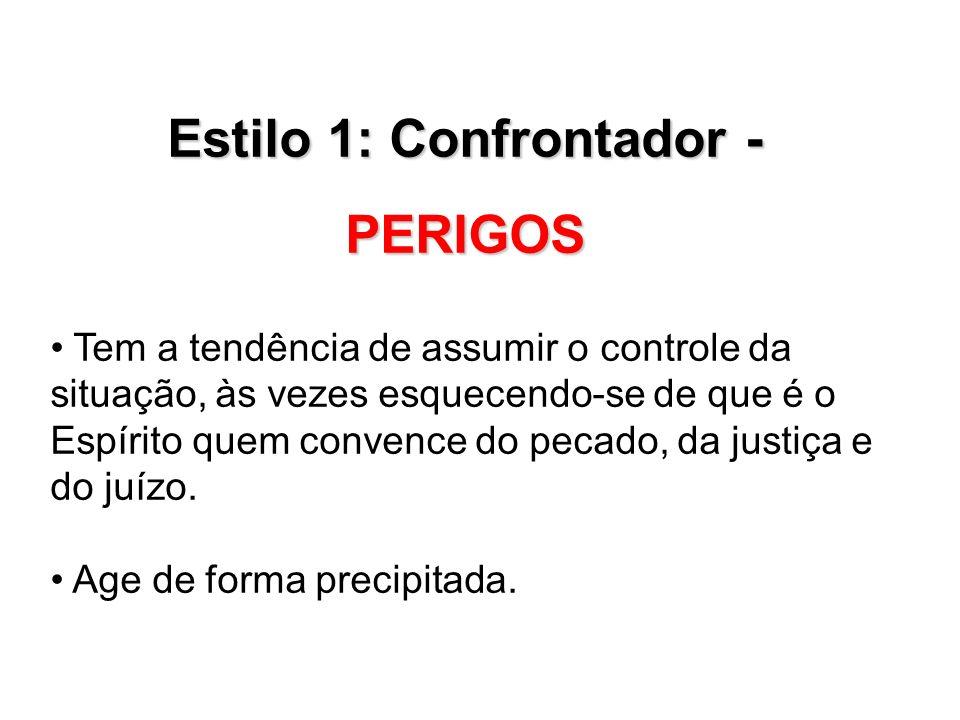 Estilo 1: Confrontador – PERIGOS Não aprofunda as questões.