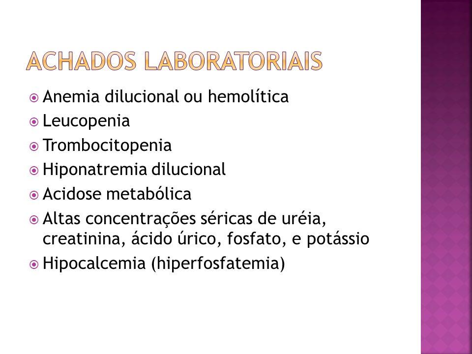 Hipovole mia NTANIAGlomerulon efrite Obstrução SedimentoPouco alterado Cilindros granulosos largos, acastanhados Leucócitos, eosinófilos, cilindros celulares Eritrócitos, cilindros hemáticos Pouco alterado ou hemorrágico ProteínaNenhuma ou baixa MínimaAumentada >100mg/dL Baixa Na urinário (mEq/L) <20>30 <20<20 (aguda) >40 (alguns dias) Osmolalidade>400<350 >400<350 FENa%<1>1Variável<1<1 (aguda) >1 (alguns dias)