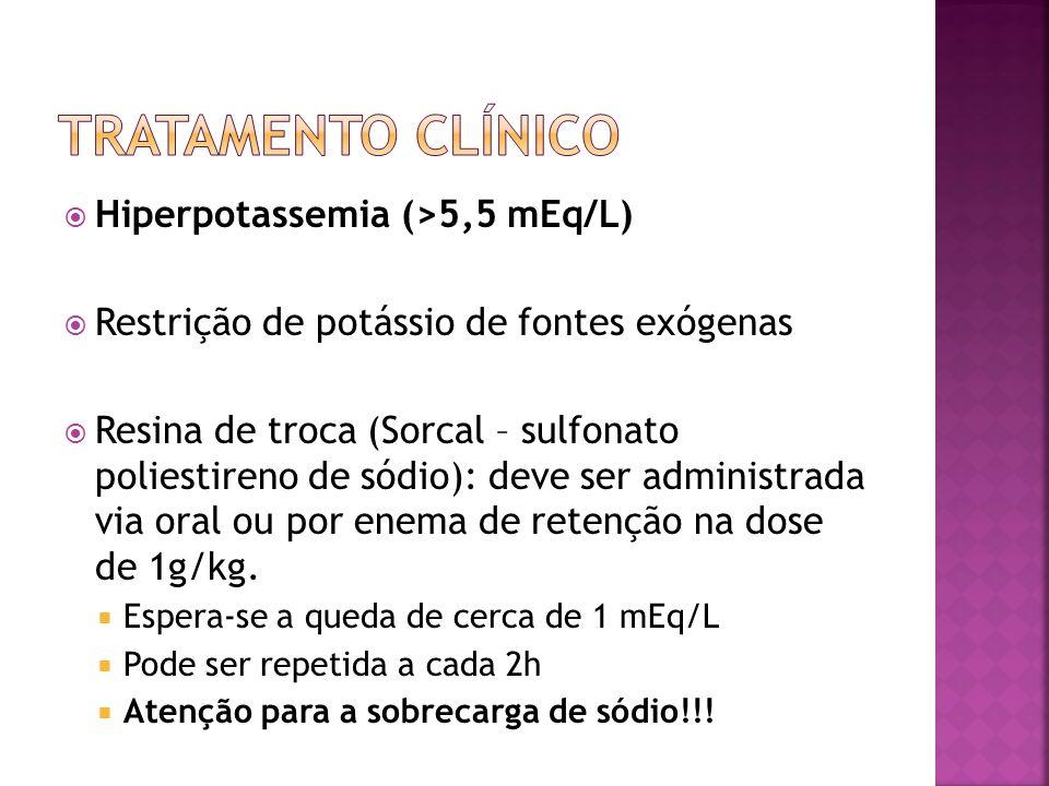 Se hiperpotassemia > 7 mEq/L : Resina de troca Gluconato de cálcio 10% (1 mL/kg IV em 3- 5min) Bicarbonato de sódio (1-2 mEq/kg IV em 5-10 min) Insulina regular (0,1 U/kg com solução de glicose a 50% 1 mL/kg em 1h) A hiperpotassemia persistente deve ser tratada através da diálise