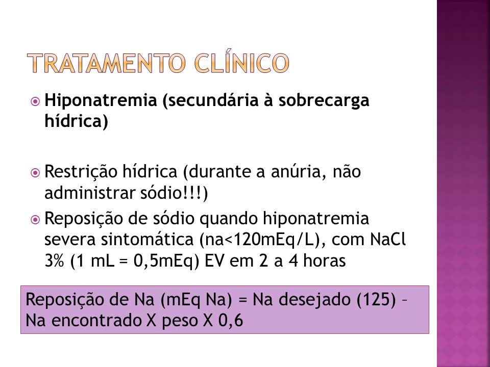 Hipocalcemia Causas: hiperfosfatemia, deficiência de vitamina D, resistência à ação do PTH, hipoalbuminemia Sintomas de hipocalcemia severa: tetania, convulsão, arritmia cardíaca Na hipocalcemia sintomática: gluconato de cálcio 10% 2mL/kg EV em 10 minutos, podendo ser repetido a cada 6 horas.