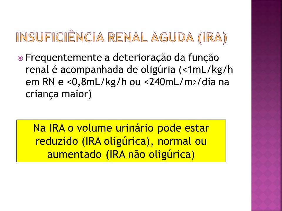 Pré-renal Intrínseca Pós-renal Redução efetiva de volume arterial circulante = perfusão renal inadequada = TFG diminuída Sem evidências de lesão renal.