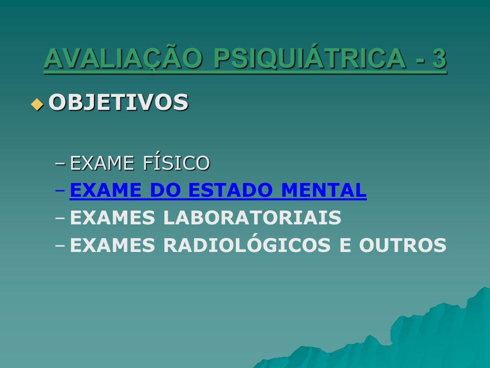 AVALIAÇÃO PSIQUIÁTRICA -4 ELABORAÇÃO – –DISCUSSÃO DO CASO – –DIAGNÓSTICO DIFERENCIAL