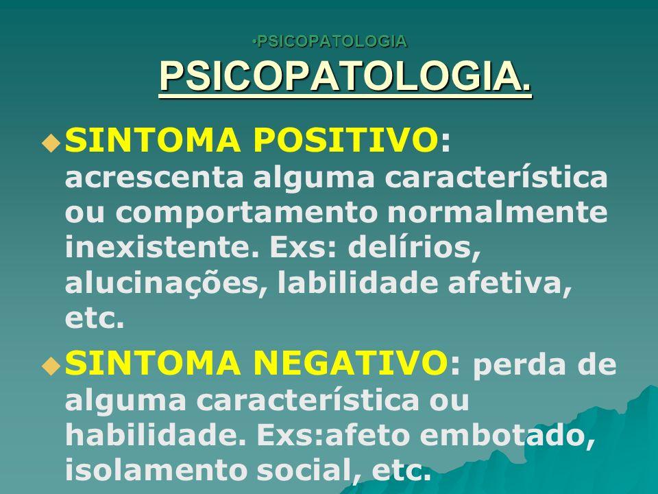 PSICOPATOLOGIA 6.PENSAMENTO. Não é possível avaliar o PENSAMENTO de forma direta.
