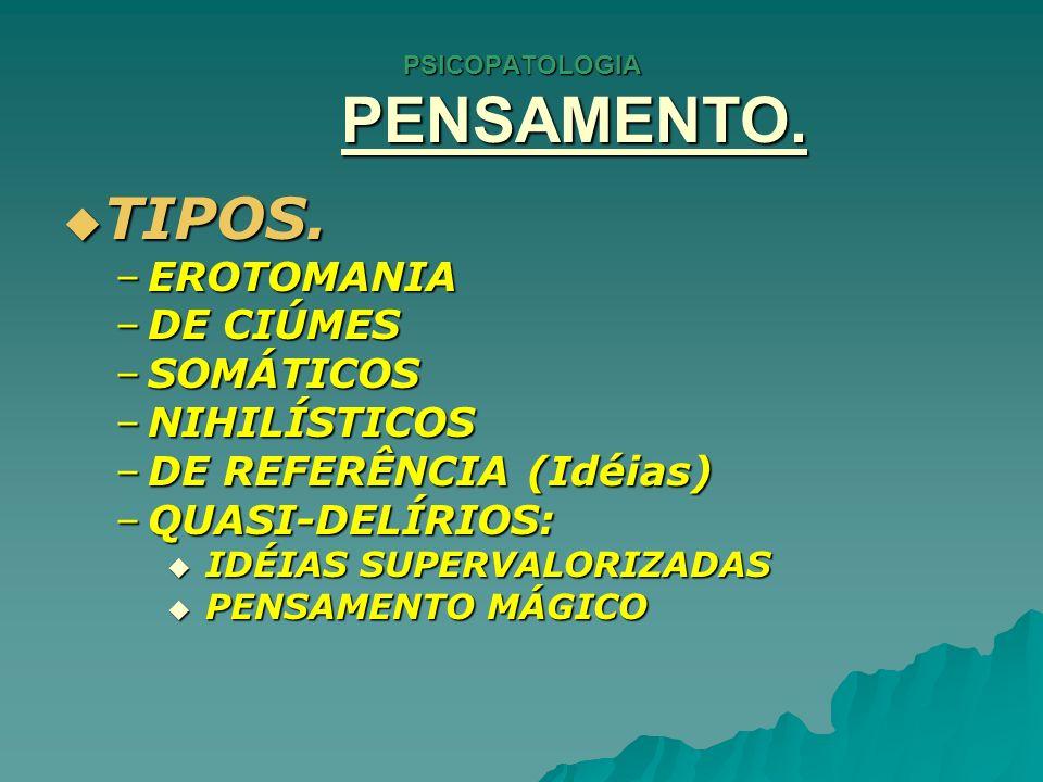 PSICOPATOLOGIA PENSAMENTO.FOBIAS. FOBIAS.