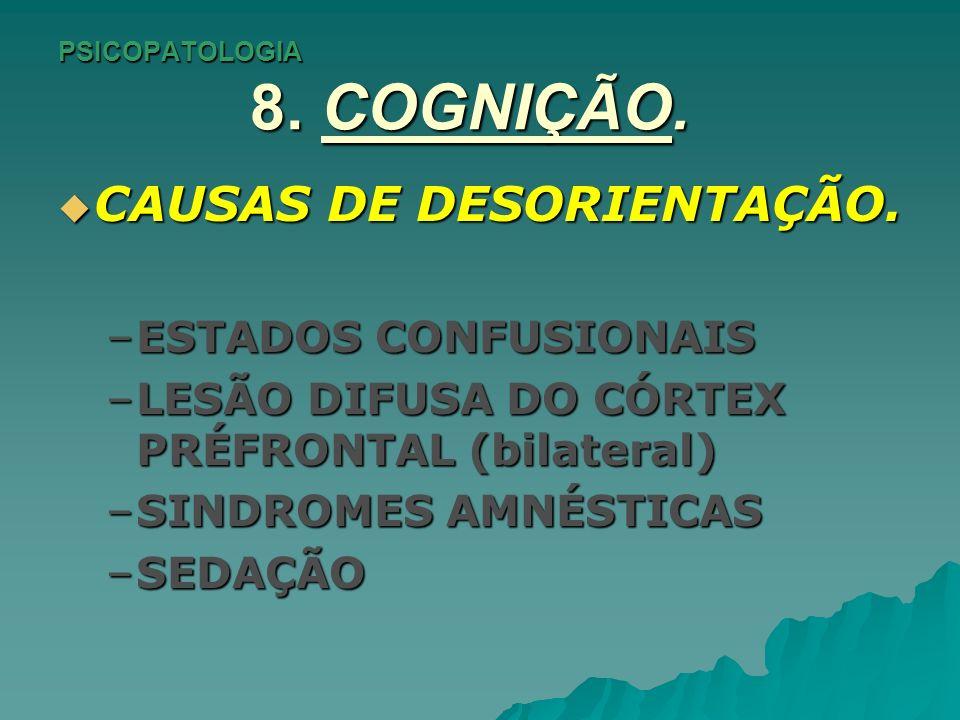 PSICOPATOLOGIA 8.COGNIÇÃO. ATENÇÃO e CONCENTRAÇÃO.