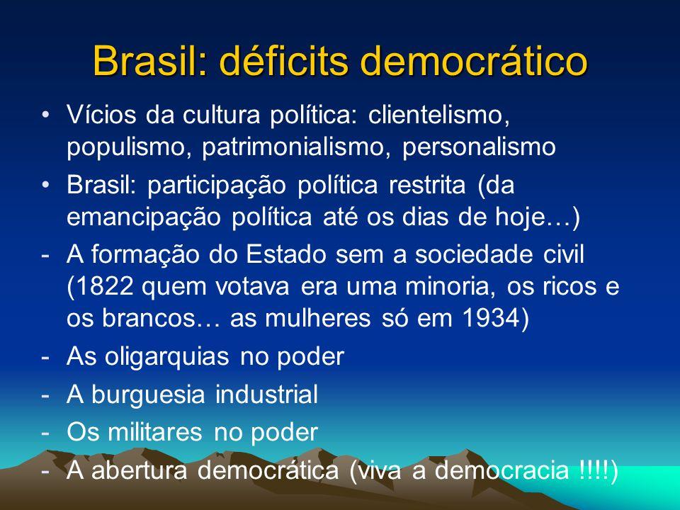 Principais problemas enfrentados pelo Brasil (%) Desemprego31 Corrupção13,5 Fome/miséria9,5 Educação precária4,3 Violência/Insegurança4,3 Desigualdade social3,5 Crise econômica3,5 Pobreza2,3 Má distribuição de renda2,0 NS5,0 Outros21