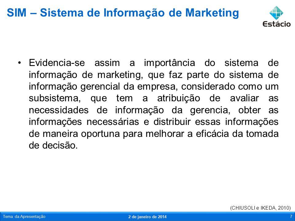 Um Sistema de Informação de Marketing é uma forma organizada e planejada de proporcionar informações embasadas e frequentes para que possam ser tomadas as providências necessárias para solucionar possíveis problemas ou aproveitar oportunidades de mercado.