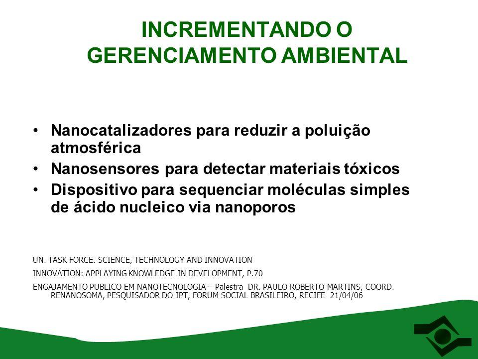 NANO OPORTUNIDADES E MEIO AMBIENTE Aspecto geral: Menor uso de matérias primas e recursos naturais.