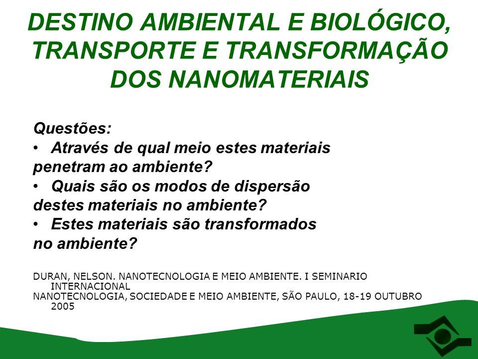 EXPOSIÇÃO E BIODISPONIBILIDADE DE NANOMATERIAIS Possivelmente há grande risco à saúde humana associado a fabricação de nanomateriais.