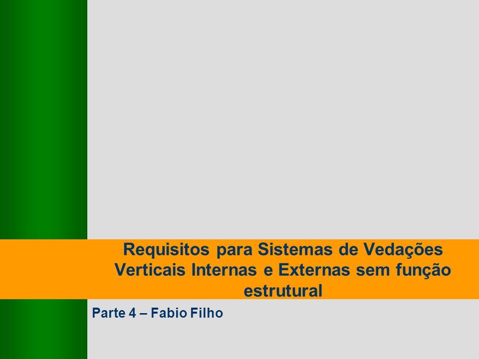 GT Grupo SECOVI - SINDUSCON Requisitos para Sistemas de Vedações Verticais Internas e Externas sem função Estutural 9,825,461,087,64 10,91 6,00 0,00 8,00 27-Fev-2007 2 - Participantes Ana ChalitaCyrella Paulo Aridan SECOVI/SINDUSCON Luiz FernandoGafisa João de ValentinHexagrama Fabio Filho Concima Equipe do IPT liderada por Cláudio Mitidieri
