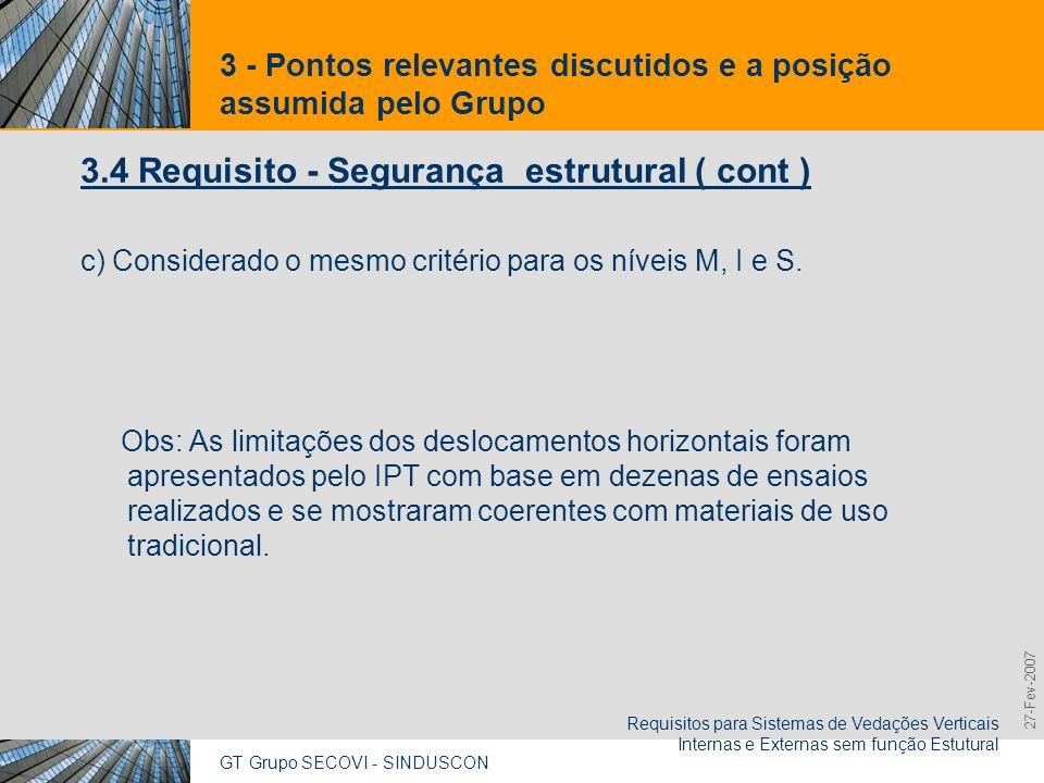 GT Grupo SECOVI - SINDUSCON Requisitos para Sistemas de Vedações Verticais Internas e Externas sem função Estutural 9,825,461,087,64 10,91 6,00 0,00 8,00 27-Fev-2007 3 - Pontos relevantes discutidos e a posição assumida pelo Grupo 3.5 Requisito - Solicitação de cargas de suporte para as peças suspensas a) Critérios e níveis de desempenho para peças suspensas fixadas por mãos-francesa padrão: - Ocorrência de fissuras, destacamentos e deslocamentos instantâneos e residuais dentro de parâmetros determinados.