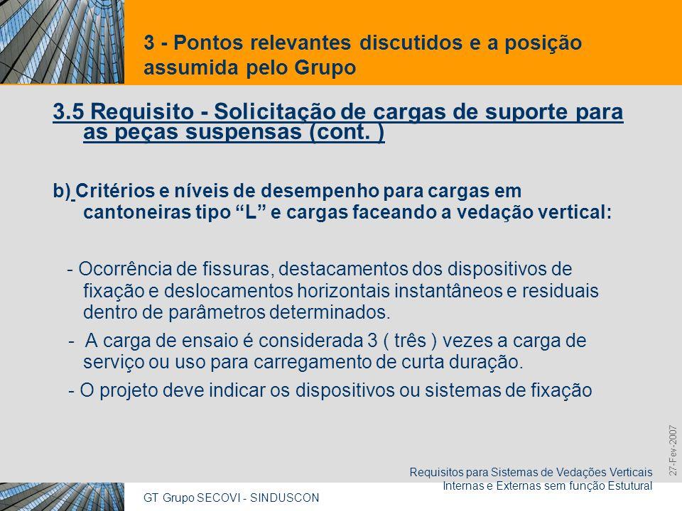 GT Grupo SECOVI - SINDUSCON Requisitos para Sistemas de Vedações Verticais Internas e Externas sem função Estutural 9,825,461,087,64 10,91 6,00 0,00 8,00 27-Fev-2007 3 - Pontos relevantes discutidos e a posição assumida pelo Grupo 3.5 Requisito - Solicitação de cargas de suporte para as peças suspensas (cont.