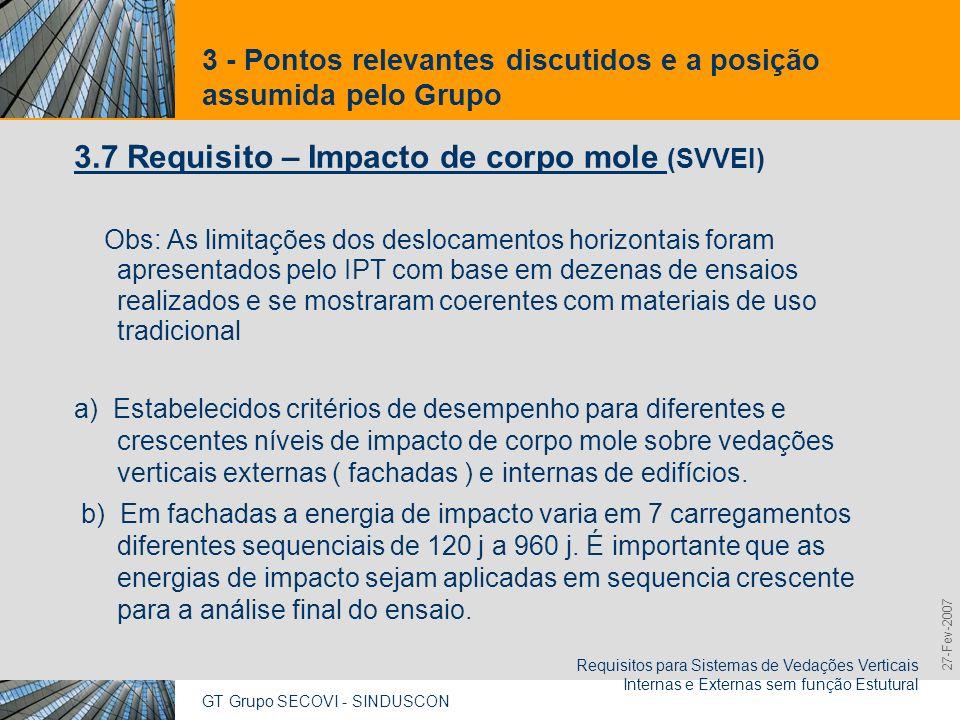 GT Grupo SECOVI - SINDUSCON Requisitos para Sistemas de Vedações Verticais Internas e Externas sem função Estutural 9,825,461,087,64 10,91 6,00 0,00 8,00 27-Fev-2007 3 - Pontos relevantes discutidos e a posição assumida pelo Grupo 3.7 Requisito – Impacto de corpo mole (SVVEI) (cont.) c) Critérios diferenciados para vedações verticais constituídas por elementos leves ( G <60kg/m2) e por revestimento interno de vedações de fachada multicamada.