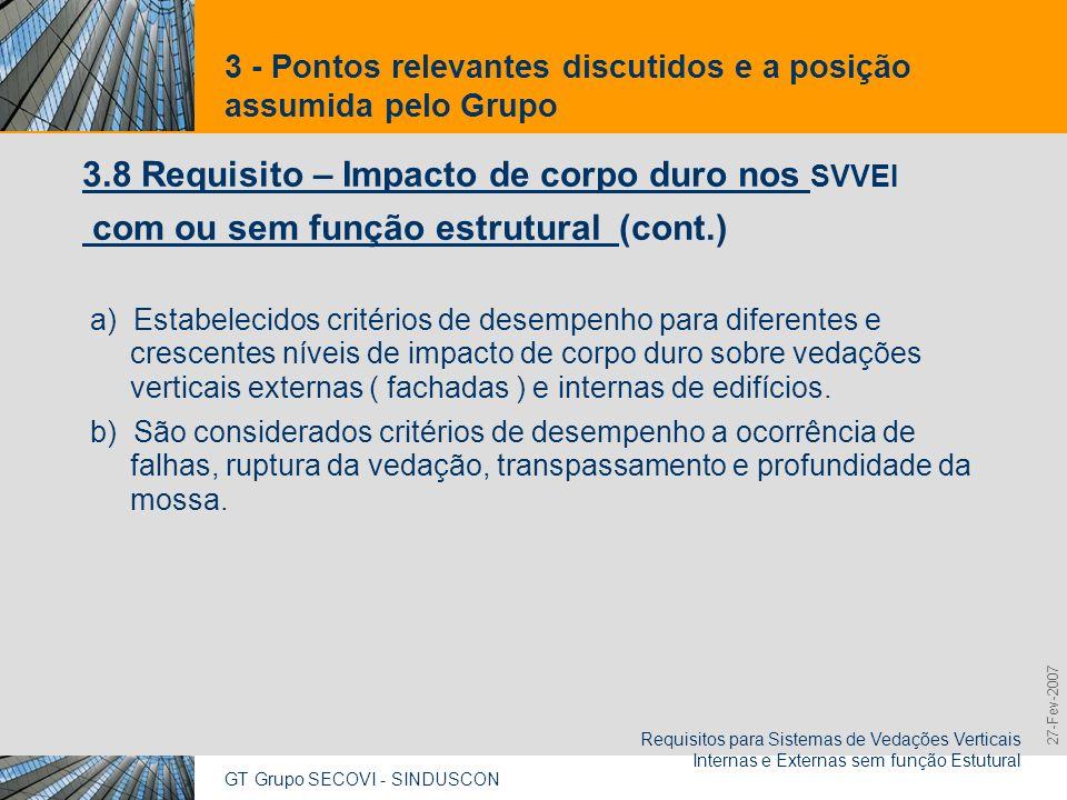 GT Grupo SECOVI - SINDUSCON Requisitos para Sistemas de Vedações Verticais Internas e Externas sem função Estutural 9,825,461,087,64 10,91 6,00 0,00 8,00 27-Fev-2007 3 - Pontos relevantes discutidos e a posição assumida pelo Grupo 3.9 Requisito - Estanqueidade à água dos Sistemas de Vedações Verticais Externas (fachadas) c) Deve atender as exigências pertinentes constantes na Parte 1.