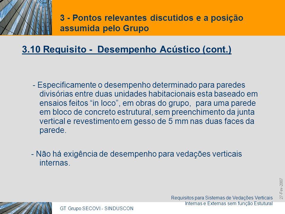 GT Grupo SECOVI - SINDUSCON Requisitos para Sistemas de Vedações Verticais Internas e Externas sem função Estutural 9,825,461,087,64 10,91 6,00 0,00 8,00 27-Fev-2007 3 - Pontos relevantes discutidos e a posição assumida pelo Grupo 3.10 Requisito - Desempenho Acústico (cont.)