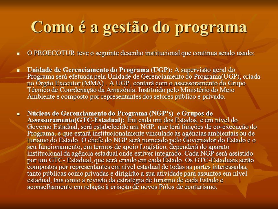 Como é a gestão do programa Grupos Técnicos Operacionais (GTOs): Cada uma das sedes municipais dos Pólos de ecoturismo deverá contar com Grupos Técnicos Operacionais(GTO).