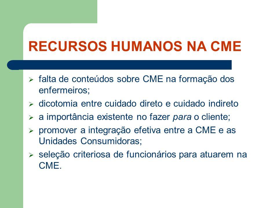 RECURSOS HUMANOS NA CME a alocação freqüente de funcionários em final de carreira; com problemas de saúde prejudica prejudica a imagem e a credibilidade da CME;