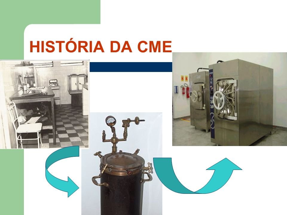 Década de 40: limpeza, preparo e acondicionamento de artigos nas UI CME apenas esterilizava os artigos Década de 50: central de material parcialmente centralizada ATUALMENTE....