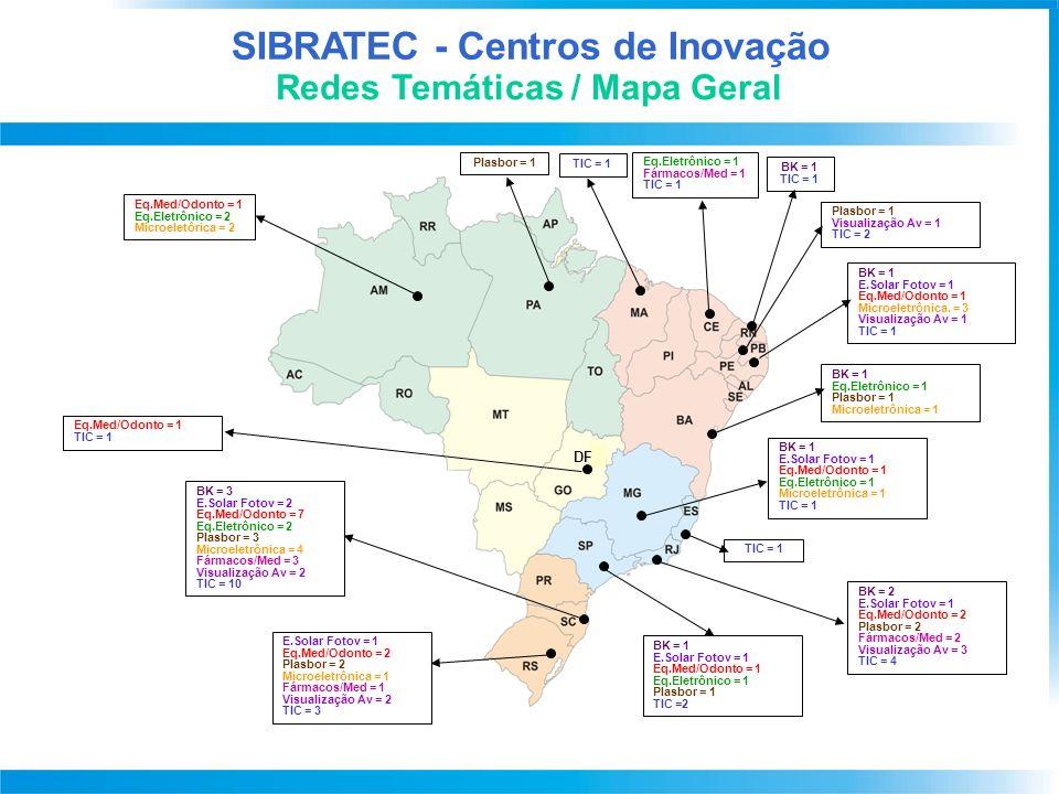 SIBRATEC - Serviços Tecnológicos Demanda por Laboratório X Região Demanda por Tema (21 Temas com base na PDP)