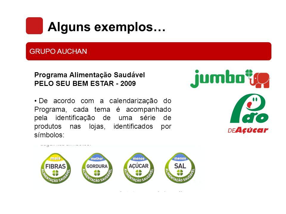 Alguns exemplos… GRUPO AUCHAN Programa Alimentação Saudável PELO SEU BEM ESTAR - 2009 Os produtos associados ao Programa estão identificados na loja